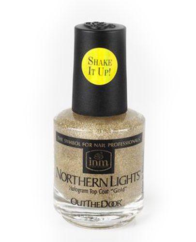 INM Northen Lights Gold Голографическая сушка-закрепитель лака Золото