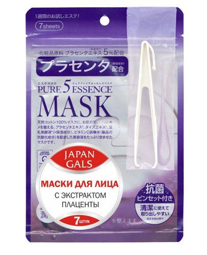 Japan Gals Маска с плацентой Pure5 Essential 7 шт. (Pure5)